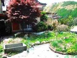南側にある庭と物置