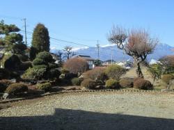 庭園と中央アルプスの眺望